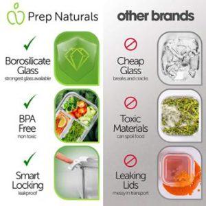 Prep Naturals Bento Box - Tough Glass - BPA free - Smart Lock
