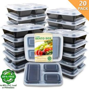 Enther 20 Pack 3 Compartment Bento Boxes