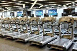 Treadmills in a fitness center.