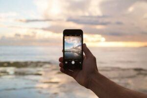 Smartphone captures sunset - body camera is better.