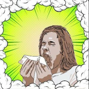 Person with coronavirus sneezing.