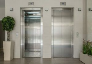 Getting in the elevator to go see my accountant.